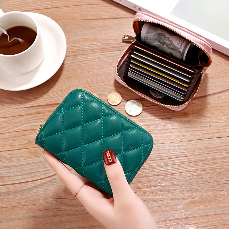 ID/Bank/Credit Card Holder Wallet Women/men Red/green/pink/black Card Case Female/male PU Leather 9 Bits Business Card Holder