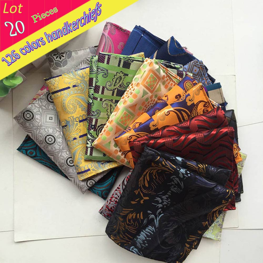 (20 Pcs/lot) Wholesale Men's 100% Silk Handkerchief Luxury Geometric Floral Pocket Square Men Chest Towel Wedding Party Hankies