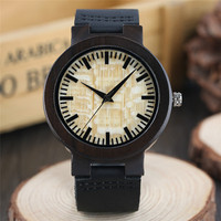 Luxury Ebony Wood Mens Watches 100 Natural Green Beige Dial Bamboo Pattern Hour Clock Male Genuine