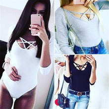 2016 New arrival Sexy Women bodysuit Long Sleeve Bandage Hollow out Skinny bodysuit Cotton Solid rompers womens jumpsuit