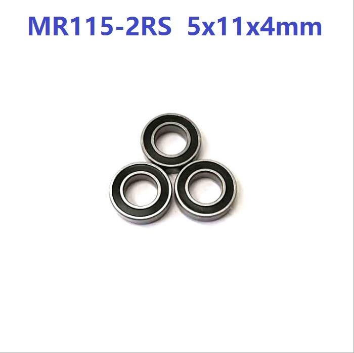 50pcs/100pcs/500pcs MR115RS MR115-2RS MR115 RS 2RS 5x11x4 mm Rubber sealed deep groove Ball Bearing Miniature 5*11*4mm
