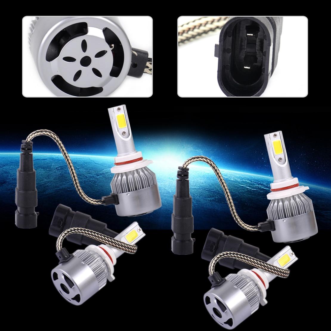 DWCX universel 4 pièces voiture 2 broches aluminium & plastique 9005 9006 LED 36 W 3800LM 6000 K Combo phare feux de croisement ampoules blanches 36 W