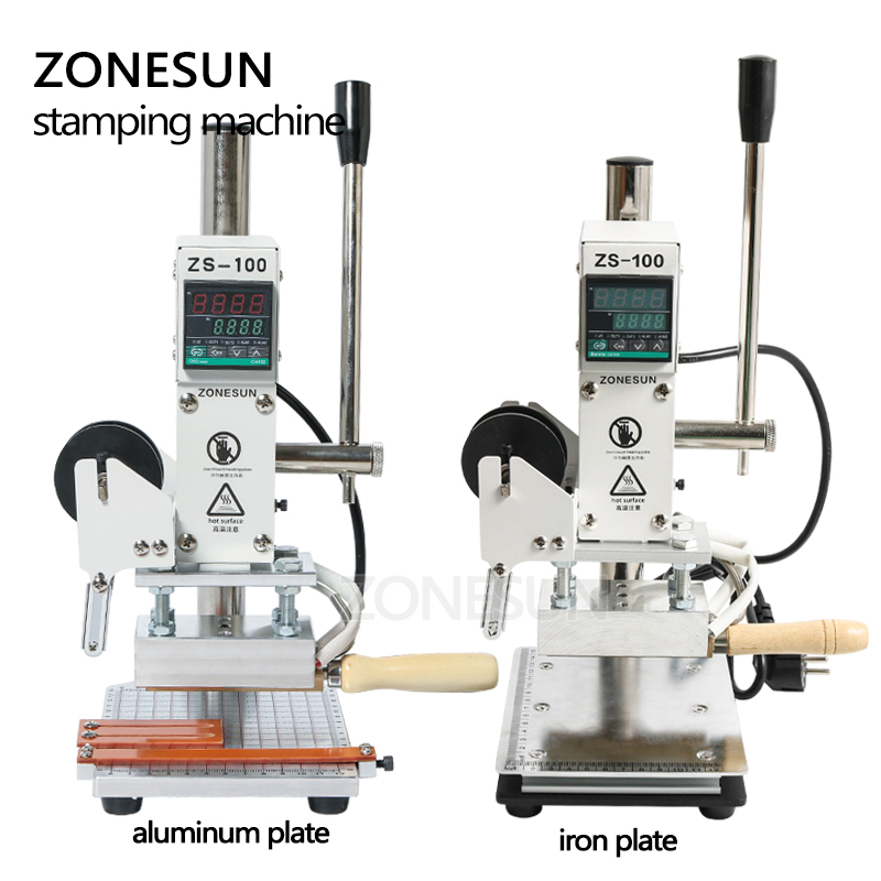ZONESUN estampage à chaud Machine à bronzer manuel machine à rembosser bricolage artisanat en bois portefeuille PVC carte en cuir papier sac à main - 2