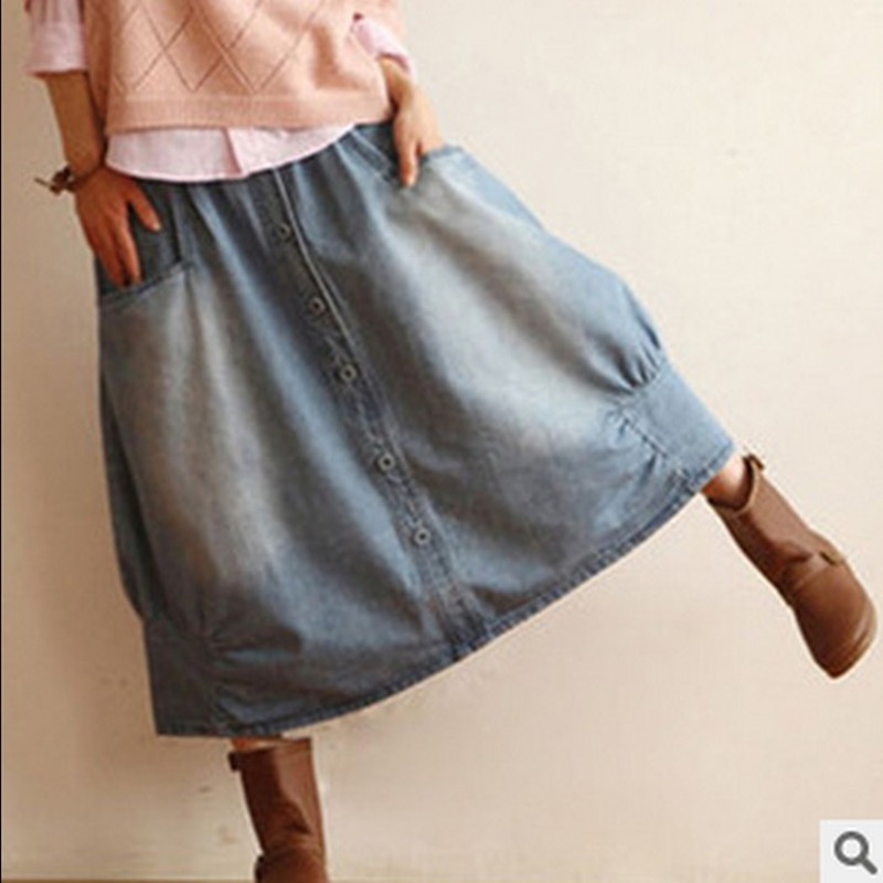 Mori Girl Vintage Retro Lolita Hippie Boho Harajuku Lolita Saias Jupe Femme Japanese Cowboy Cotton Denim Jeans Blue Women Skirt