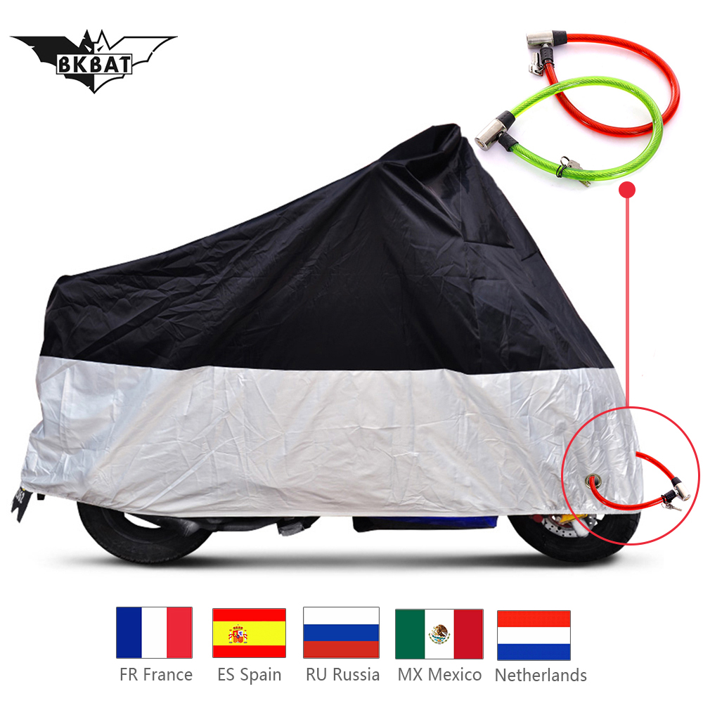 Waterproof Breathable Universal Motorcycle Cover Scooter Cover Dustproof Anti-UV Sleeve Moped Cover Motorcycle Cover All Season With Locking Holes