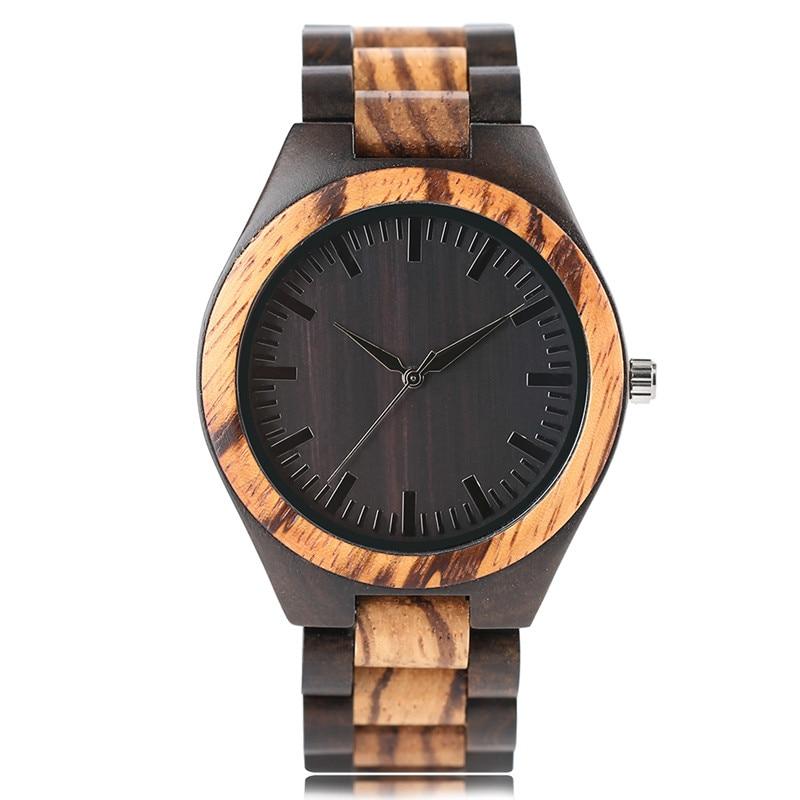 Hot Selling Men Hand-made Wooden Quartz Wristwatch Black Dial Zebra Pattern Bracelet Clasp Wood Watchband Casual Male Watch Gift