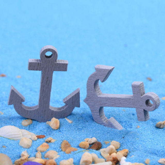 Mini Wooden Anchor Figurines Set