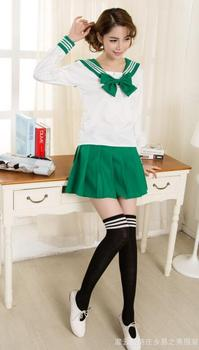 sailor suit students school uniform for teens preppy style cos uniform JK fashion Japanese Seifuku bow skirt shirt japanese school uniforms anime cos sailor suit tops bow tie skirt jk navy style students clothes for girl short sleeve
