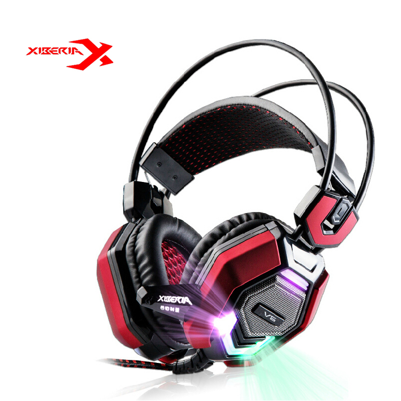 XIBERIA V6 Over-ear Stereo Gaming Headset headband LED Light Headset Gamer PC USB Computer Earphones Headphone With Microphone