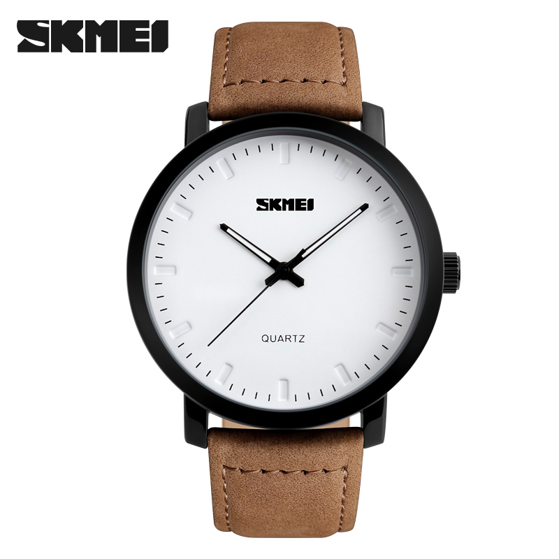 2016 SKMEI Men s leather waterproof quartz watch classic fashion simple wristwatches
