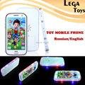 Aprender Russo/Inglês touch-screen da música do telefone móvel telefone de brinquedo com luz Música brinquedos Educativos Aprendizagem Brinquedos para crianças