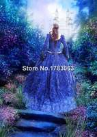 Blue Fantasy Renaissance Medieval Fairy Set with Cape/Southern Belle Gown Reenactment Theater Costume