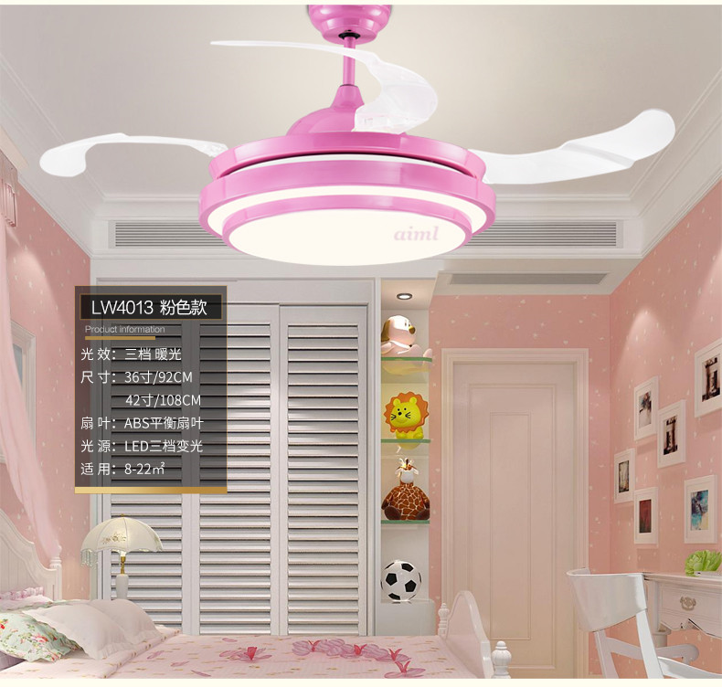 Ceiling Fans Lamp Led 36/42 Inch Children Room Boy Football Remote Control 3 Color Ceiling Fan Light Girl Princess Lamp Pink Top Watermelons Ceiling Lights & Fans Lights & Lighting