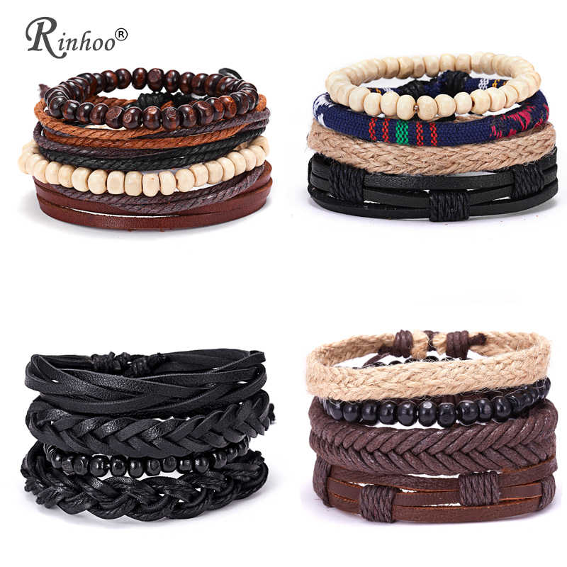 RINHOO Vintage Leather Bracelets for Men Bohemia Multilayer Beads Wrap Punk Rope Jewelry Valentine's Day Gift Bracelets Bangles