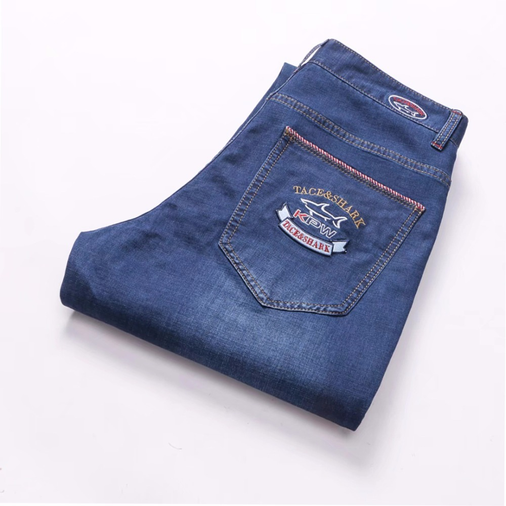 Tace&shark branded <font><b>jeans</b></font> men <font><b>Jeans</b></font> 2018 summer new cotton embroidery business casual waist pants size of England billionaire