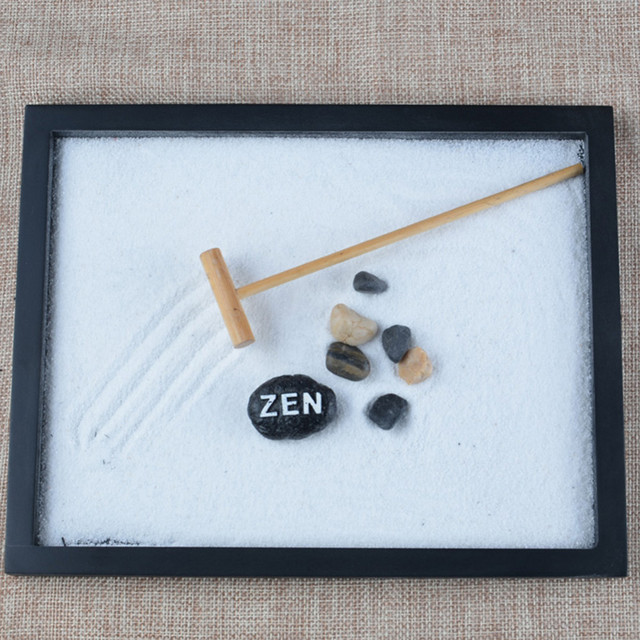 1 Set Peaceful Elaborately Statue Zen Garden Sand Meditation Relax Decor Set Spiritual Zen Garden Kit Decoration Set