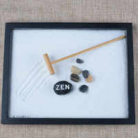 1 Set Peaceful Elaborately Statue Zen Garden Sand Meditation Relax Decor Set Spiritual Zen Garden Kit Decoration Set