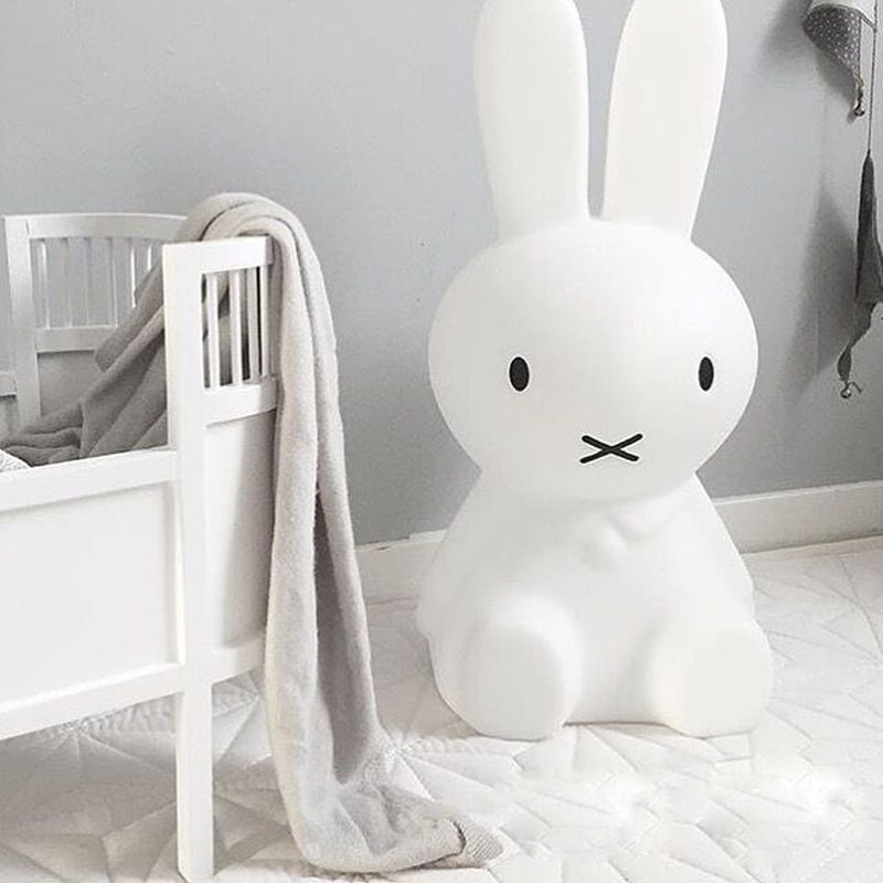 Rabbit Night Light Led Lamp Dimmable for Baby Children Kids Gift Animal Cartoon Decorative Bedside Bedroom Living Room 50CM beiaidi 7 color usb rechargeable rabbit led night light dimmable animal cartoon light with remote baby kids christmas gift lamp