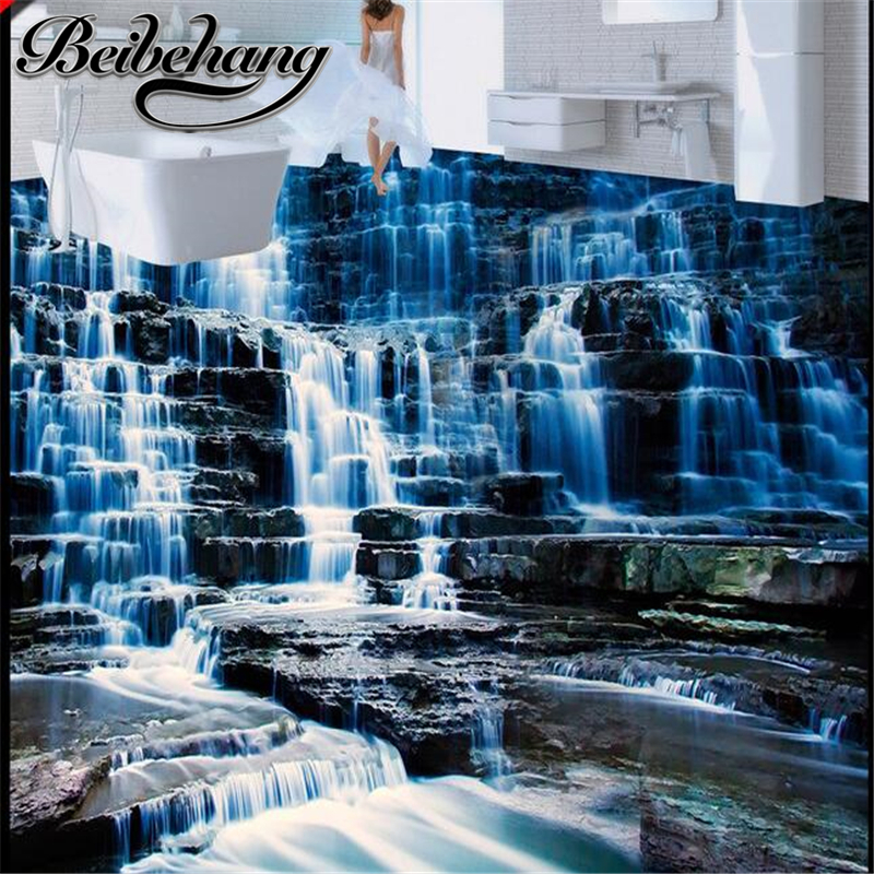 Beibehang 3d pvc flooring custom wall paper scenic for Bathroom floor mural sky