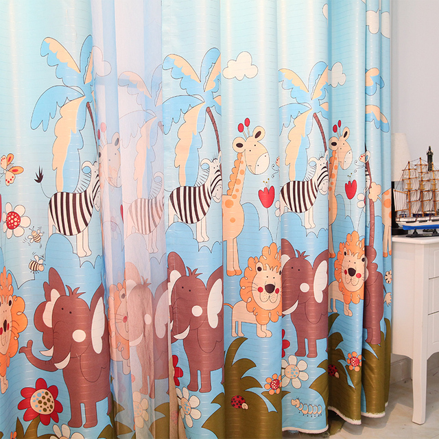 3d Curtains Free Shipping!2 Pieces/Lot 3D Printing Cartoon Zoo Cute ...