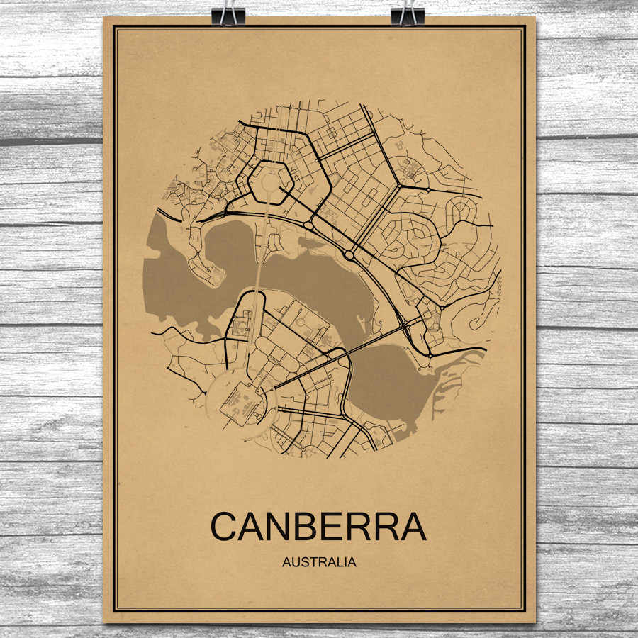 ed07e7a157 Vintage Retro Poster CANBERRA Round World City Map Krafts Paper Wall ...