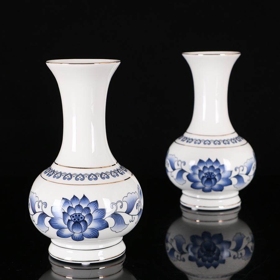 Buddhist Supplies Ceramic Vase Blue and White Lotus Vase Flower Arrangement Classical Buddhist Temple Ceramic Flower Container vase
