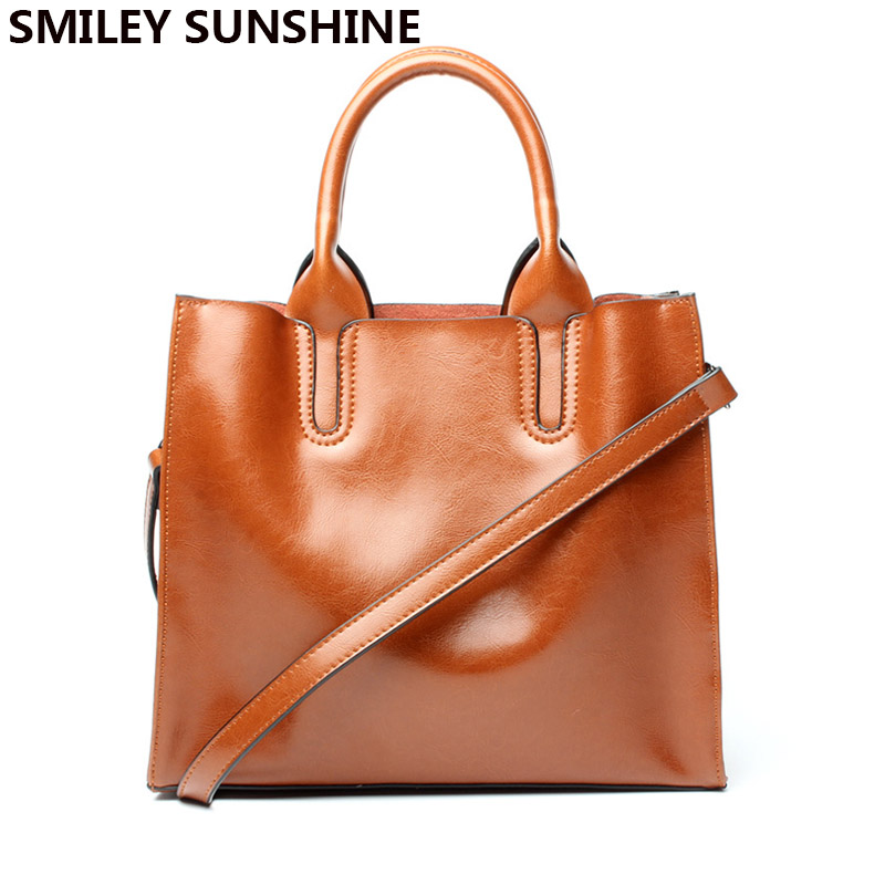 SMILEY SUNSHINE genuine leather bags women designer handbags high quality female shoulder bags fashion saffiano leather