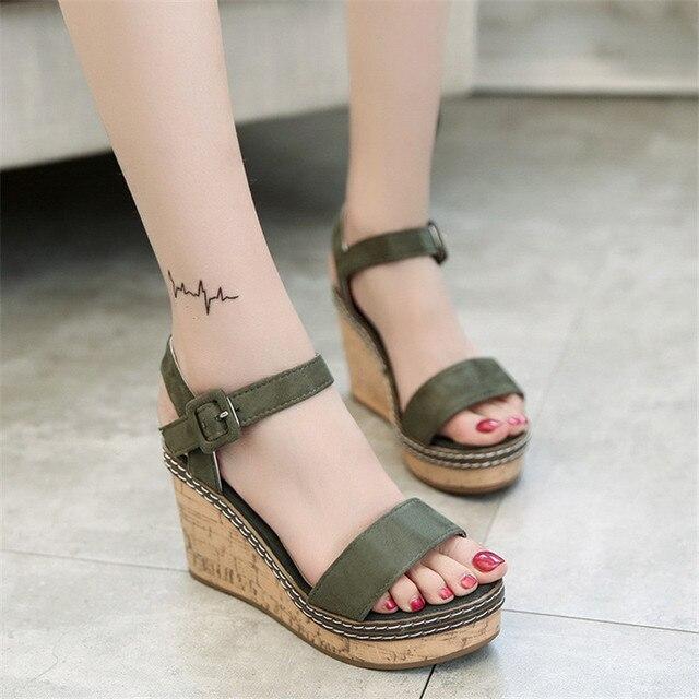 Mulheres Super Alta Sandálias de Verão 2019 Sapatos de Plataforma Mulher Cunhas Estilo Gladiador Dedo Aberto Moda Feminina Calçado SH030809