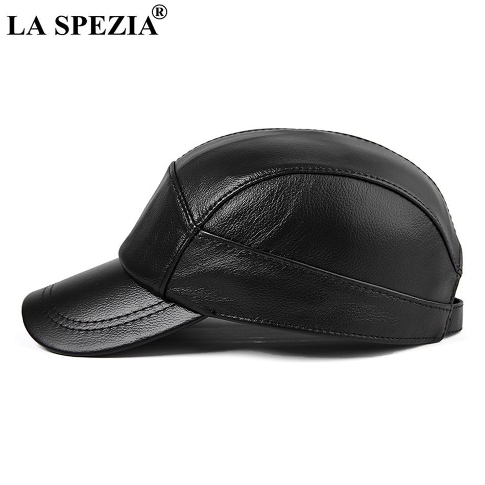 LA SPEZIA Brown Caps Men Real Leather Baseball Hats Male High Quality Genuine Leather Cowhide Autumn Vintage Dad Duckbill Hats in Men 39 s Baseball Caps from Apparel Accessories