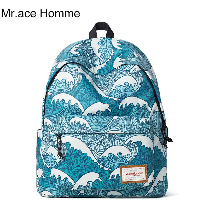 Mr.Ace Homme brand backpacks fashion waves printing backpack women mochila casual shoulder school bag travel bag