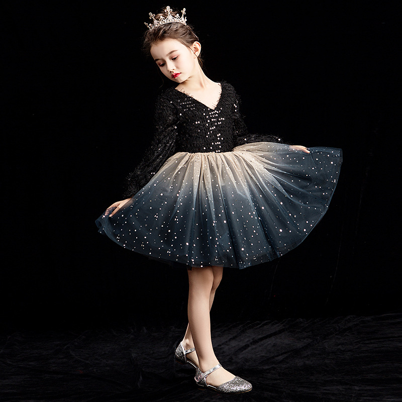 Luxury Black Princess Dress Sequined Evening Gowns V-neck Kids Pageant Dress For Birthday Party Ball Gown Girl Formal Dress B420Luxury Black Princess Dress Sequined Evening Gowns V-neck Kids Pageant Dress For Birthday Party Ball Gown Girl Formal Dress B420