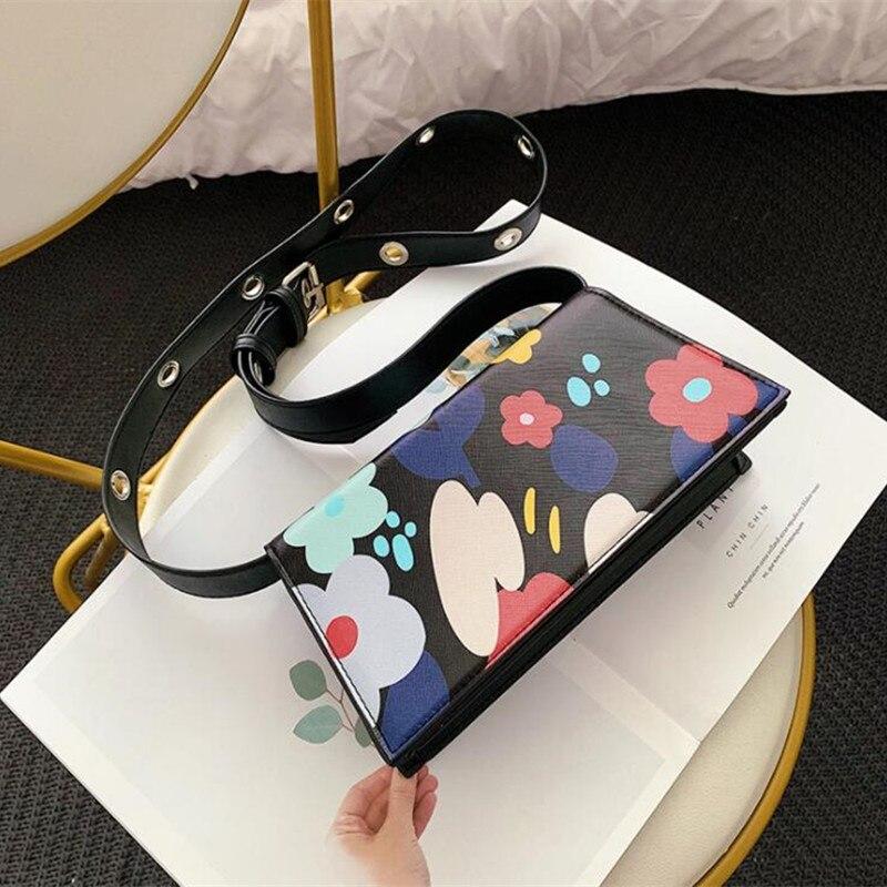 Lady Sweet Flower Print Personality Designer Flap Mujer Purse Women Crossbody Bag 2019 Female Shoulderbag Bolsa Sac 1501 in Shoulder Bags from Luggage Bags