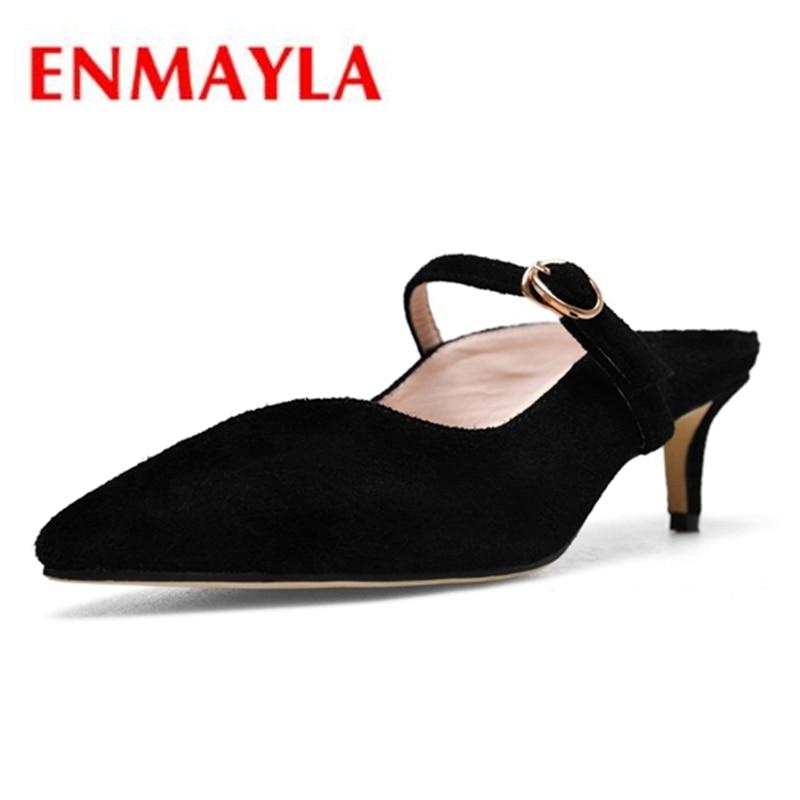 ENMAYLA Women Kid Suede Middle heels Female pumps Causal Party shoes Buckle Slingbacks Thin heels Med heels Shoes women CR359