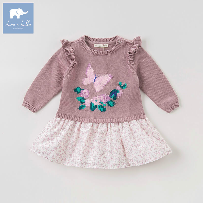 DBA8001 dave bella baby autumn Knitted Dress girls print lolita long sleeve dress children party birthday