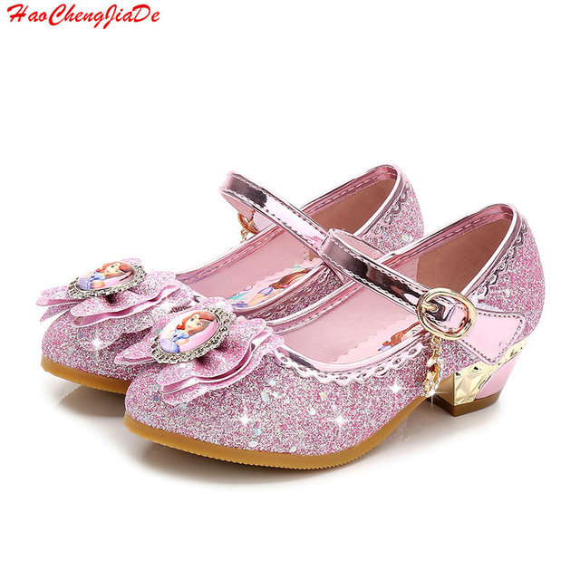 167de7d1c3 New Girls high heels Sandals Summer Spring children princess Sofia shoes  little girl shoes purple shoes enfant sandals