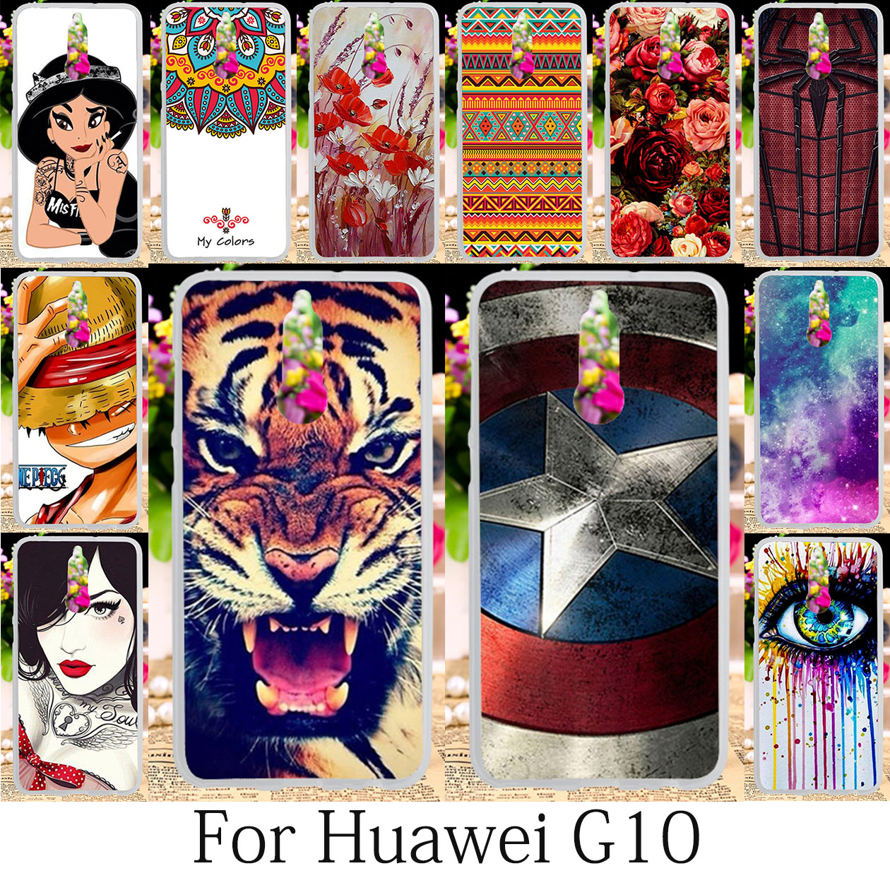 TAOYUNXI For Huawei Mate 10 Lite Case Silicone Patterned Coque Huawei Nova 2i Cover Fitted Anime G10 Honor 9i Cases Bag 5.9 inch