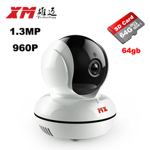 IP Network Surveillance Camera+64GB Mini Wifi Security Video Monitoring Viewing Angle140  Round Two-way Audio Smart Phone XM
