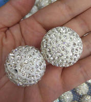 Large 30mm Micro Pave Crystal Shamballa Ball Beads 2pcs Micro Pave Clear White Black Findings Charm