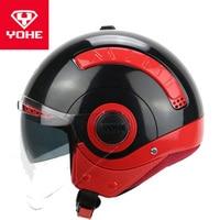 2019 Winter New YOHE Double lens Half Face Motorcycle Helmet MINI Half Cover Motorbike Helmets Made of ABS and PC lens Visor|Helmets| |  -
