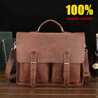 100%Genuine Leather Cow Leather handbag men's High end crazy horse leather Shoulder Bags Business High capacity messenger bags
