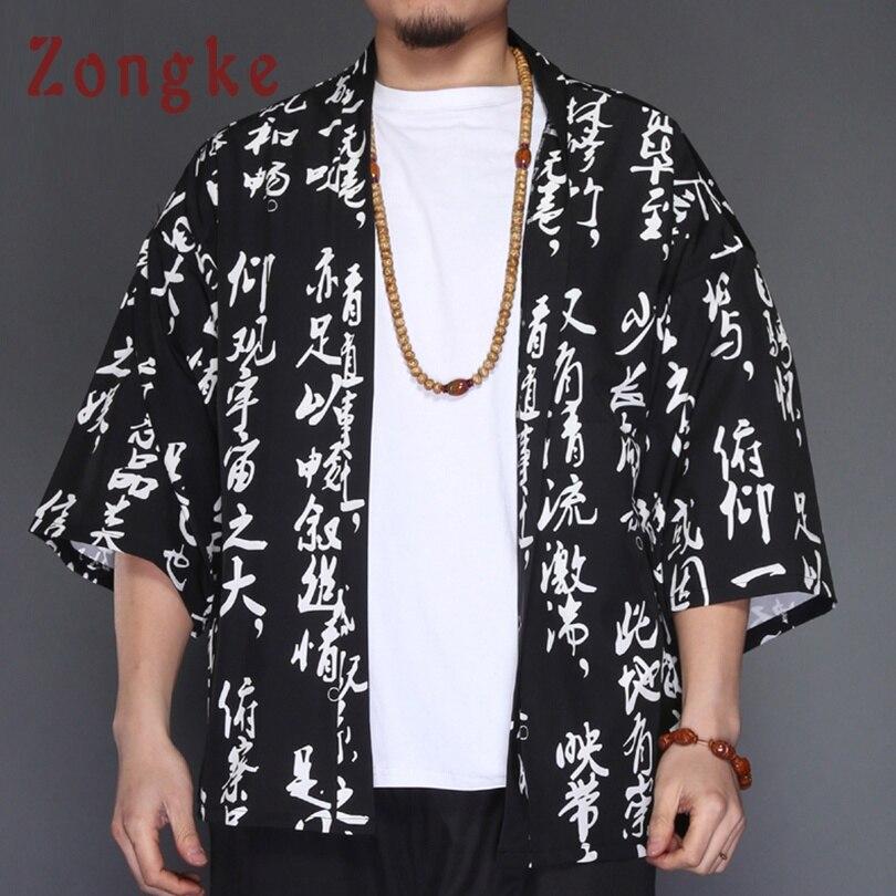 Zongke Chinese Kimono Cardigan Men Black Long Kimono Cardigan Men Chinese Character Print Men Kimono Robe Thin Jacket Coat 2018