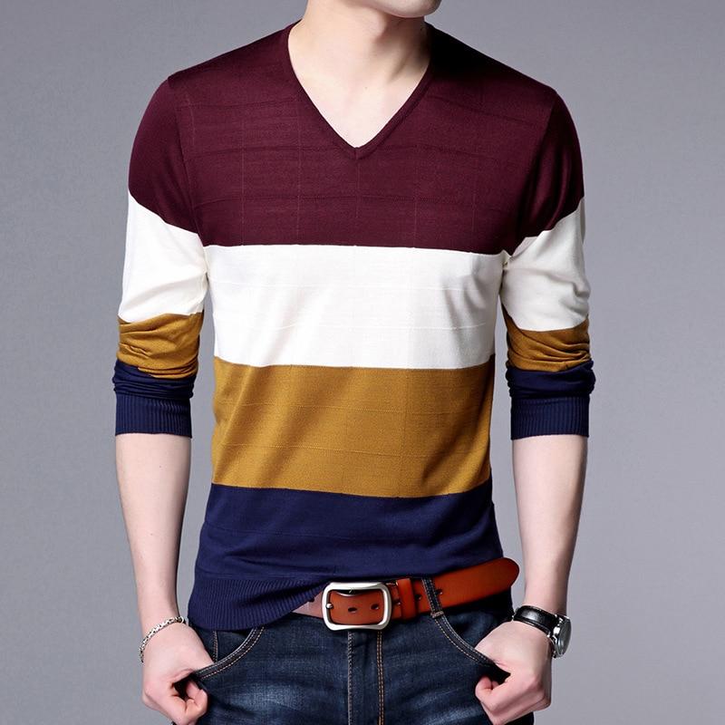 2017 autumn new font b men s b font long sleeves V neck striped font b