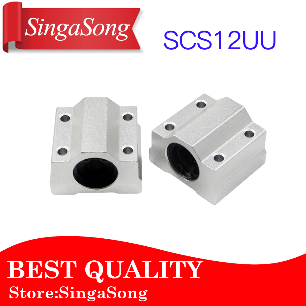 2pcs/lot SC12UU SCS12UU SC12 SCS12 12mm Linear Motion Ball Bearing Slide Bushing Linear Shaft for CNC 2pcs lm10luu long type 10mm linear motion ball bearing slide bushing for diy cnc parts for 10mm linear shaft