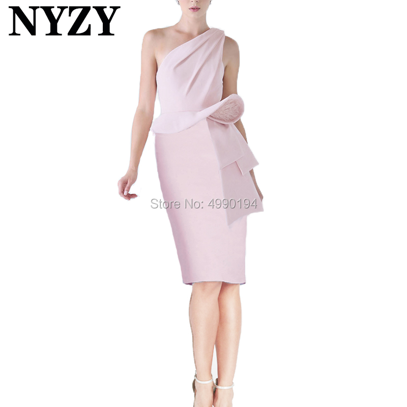 Robe Cocktail Dresses NYZY C185 Pink Satin One Shoulder Feather Evening Dress Short Prom Dress Party Homecoming Graduation
