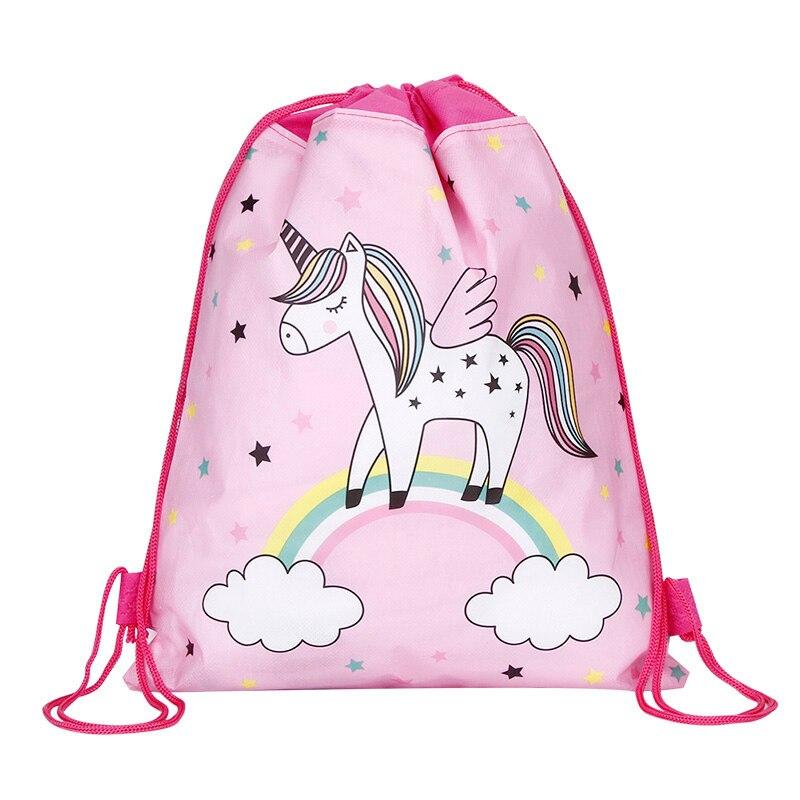 Cute Unicorn Drawstring Bag For Girls Travel Storage Package Cartoon School Backpacks Kids Birthday Party Gift Mujer Mochila
