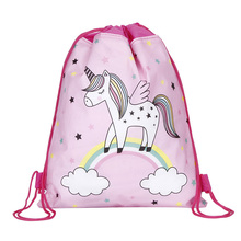 Cute Unicorn Drawstring Bag for Girls Travel Storage Package Cartoon School Backpacks Kids Birthday Party Gift Mujer Mochila