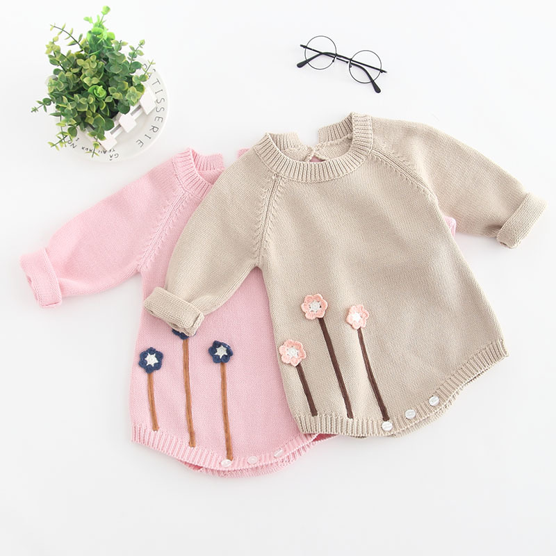 Baby Girls Solid Color Long Sleeve Embroidery Flowers Design Casual Fashion Rompers with Hats 100% Cotton Spring/Summer RompersBaby Girls Solid Color Long Sleeve Embroidery Flowers Design Casual Fashion Rompers with Hats 100% Cotton Spring/Summer Rompers