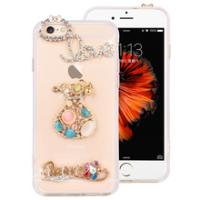 "Exquisite Crystal Diamond design bottle shoes crown phone cases for iphone 6 6S 4.7"" clear soft TPU+PC protect cover Dust plug"