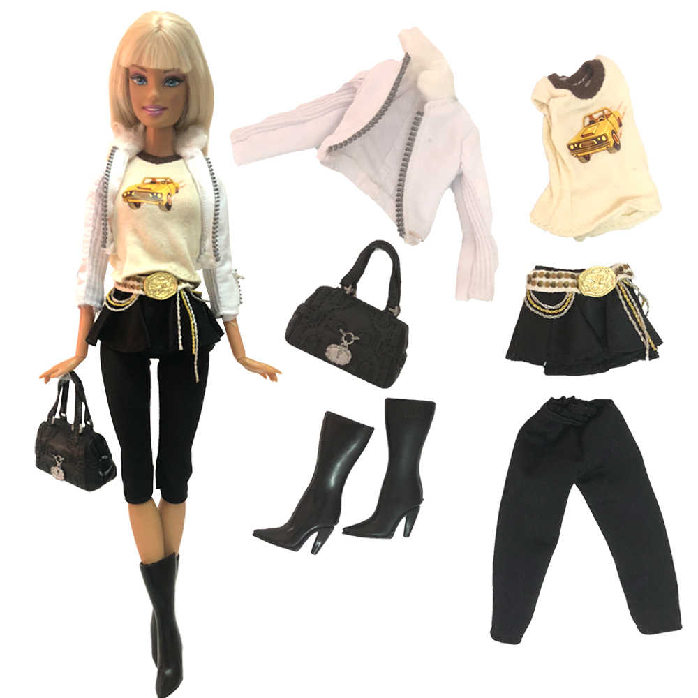 NK 2019 One Set Doll Dress Fashion Uniforms Cool Clothing Super Model Coat For Barbie Doll Accessories Girl Gift Toys 254A DZ