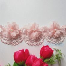 10x Pink Pearl Chiffon Flower Embroidered Lace Edge Trim Ribbon Floral Applique Fabric Handmade DIY Wedding Dress Sewing Craft